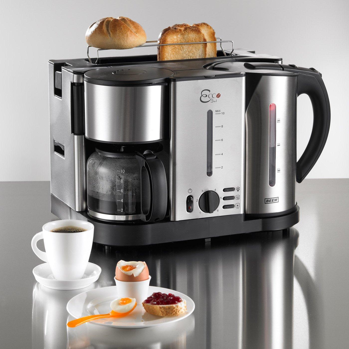 BEEM Germany Ecco 3 in 1 - Centro de desayuno (tostadora, cafetera ...