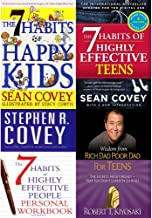 7 Habits of happy kids, highly effective teens, people personal workbook and wisdom from rich dad poor dad [hardcover] 4 books collection set