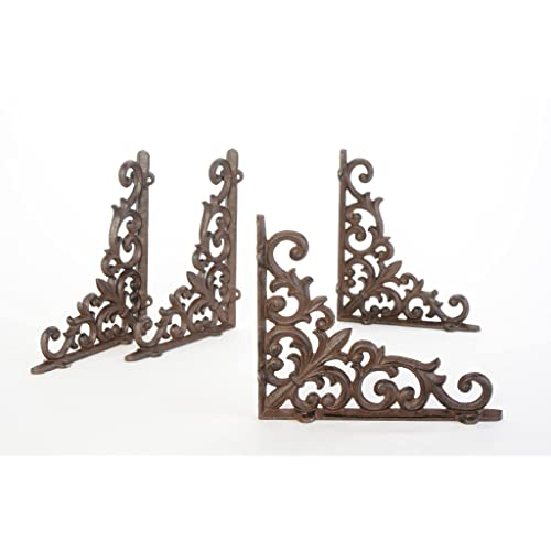 Antiques Set of 4 Cast Iron Shelf Brackets Classic 5 x 6.5 Hanger New Antique-Style Hardware