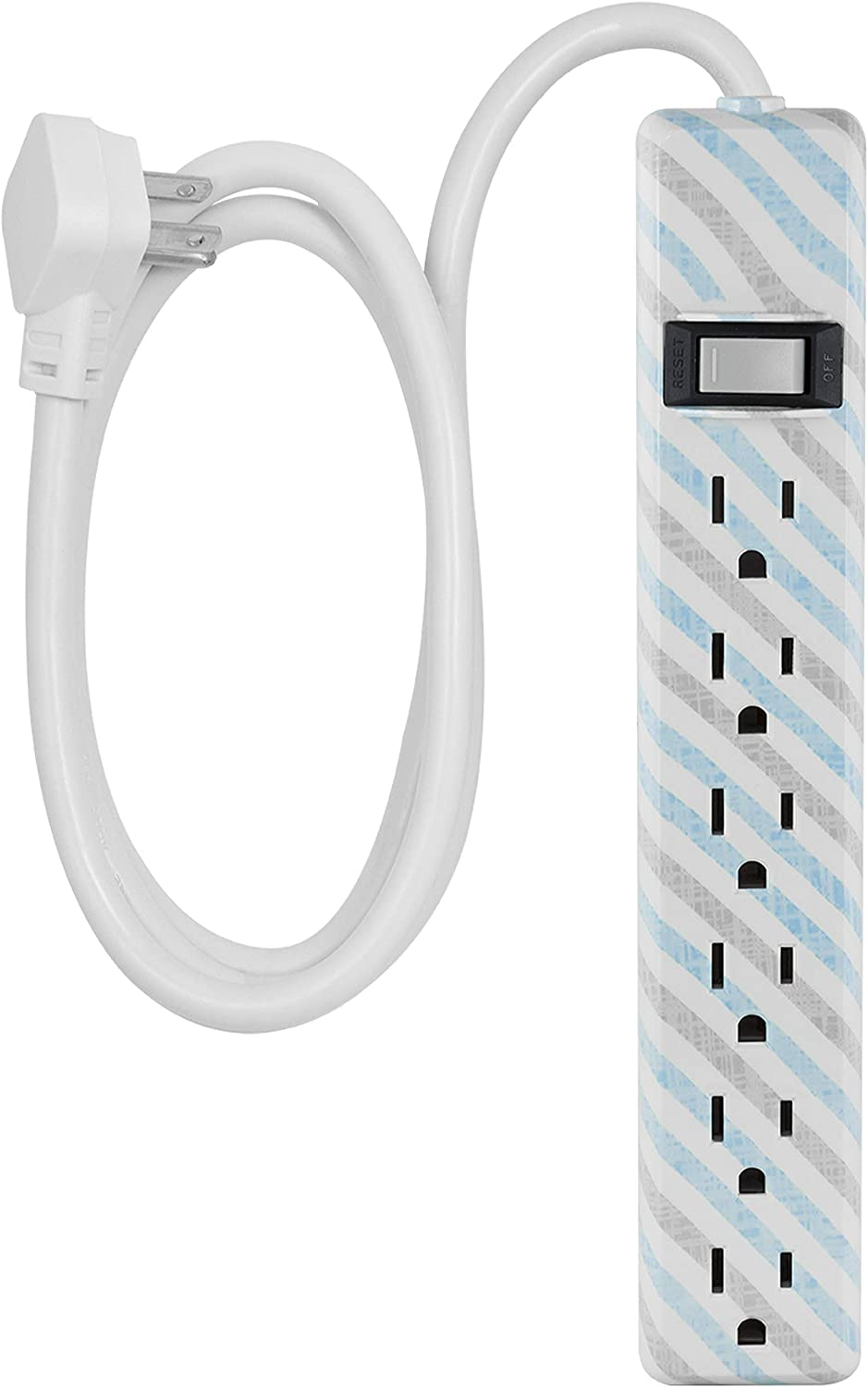 Decorative Mint Power Strip Braided Cord Wall Mount 44205 Tangle-Free 3 ft Power Cord Warranty Cordinate 6-Outlet Surge Protector Flat Plug