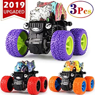 CozyBomB Friction Powered Monster Trucks Toys for Boys - Push and Go Car Vehicles Truck Jam Playset, Inertia Vehicle, Kids Birthday Christmas Party Supplies Gift 3 Years Old (Purple, Red, Orange)