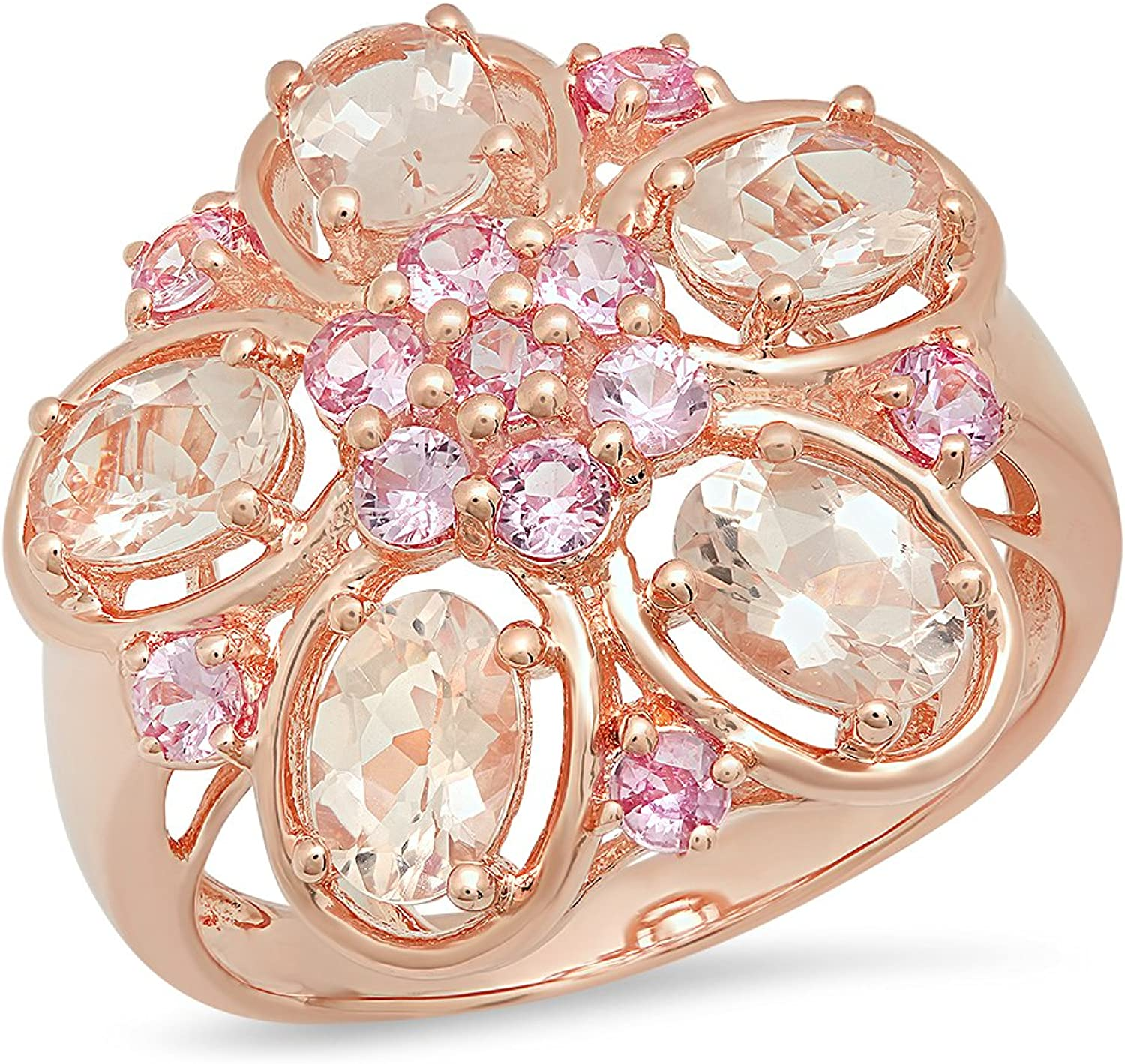2.92 Carat (ctw) pink gold Plated Sterling Silver Pink Sapphire & Morganite Ladies Right Hand Ring