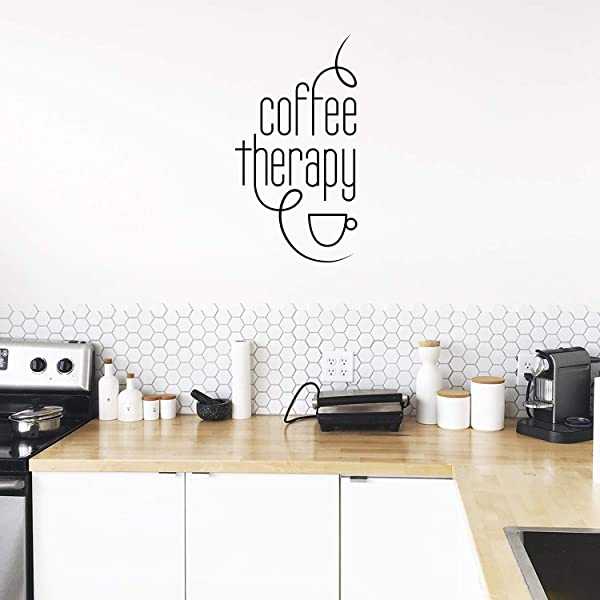 Vinyl Wall Art Decal Coffee Therapy 30 X 15 Motivational Wall Sticker Funny Trendy Home Apartment Living Room Office Workplace Business Decor Lifestyle Coffee Lovers Positive Every Day Quote