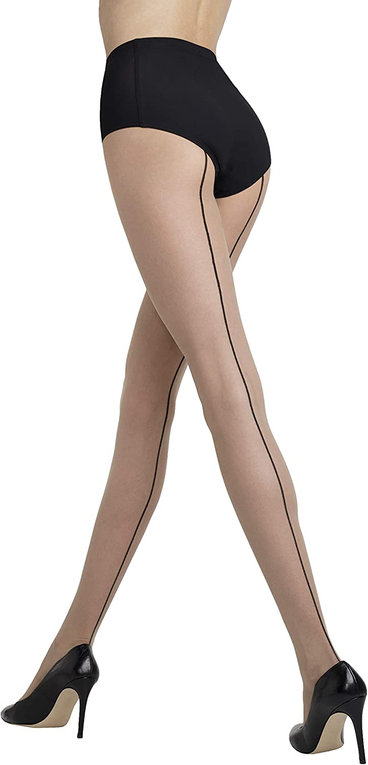 Women's SHEER NUDE TIGHTS with back seam design   CHIARA 05 by Gatta {Made in Europe}
