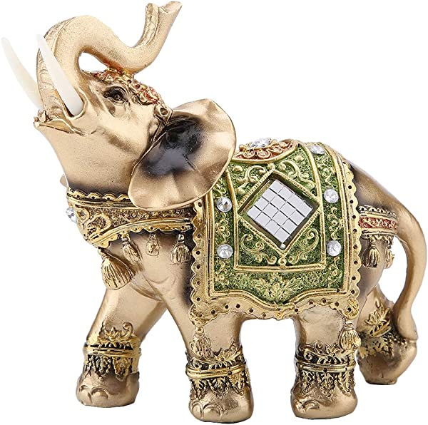 Akozon Elephant Statue Lucky Feng Shui Green Elephant Statue Sculpture Wealth Figurine Gift Home Decoration L