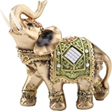 Lucky Feng Shui Green Elephant Statue Sculpture Wealth Figurine Gift Home Decoration (Green trumpet)