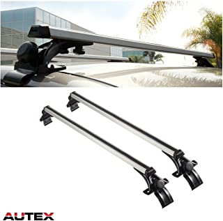 AUTEX 48'' Aluminum Universal Car Roof Rack Cross Bars Roof Top Rail Rack Cargo Carrier with 3 Pair of Mounting Clamps Bike Cargo Box Paddle Board Ski Luggage Carrier T-Bolt Slot-Adjustable Roof Rack
