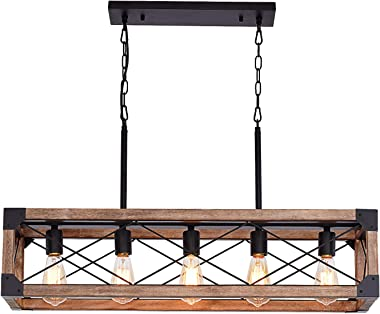 Airposta Kitchen Island Lighting, 33.5-Inch 5 Lights Farmhouse Linear Chandelier for Dining Room Pool Table Pendant Light Fixture, Rustic Wood Grain Finish, Industrial Pendant Light 5tou-DaodengPB