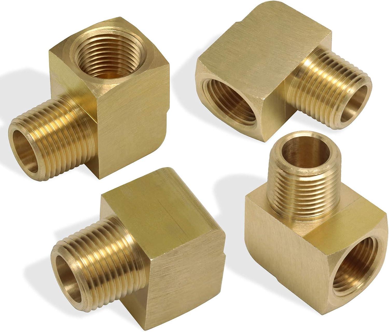 KOOTANS 4pcs 90 Degree Barstock Street Elbow Brass 1//4 NPT Male Thread To 1//4 NPT Female Thread Pipe Fittings