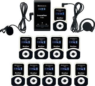 Retekess T130-T131 Sistema de Guía Turístico Tour Guide System Amplificador de Voz Recargable para Factory Church Warehouse y Organización del Equipo(1 Transmisor y 10 Receptores)