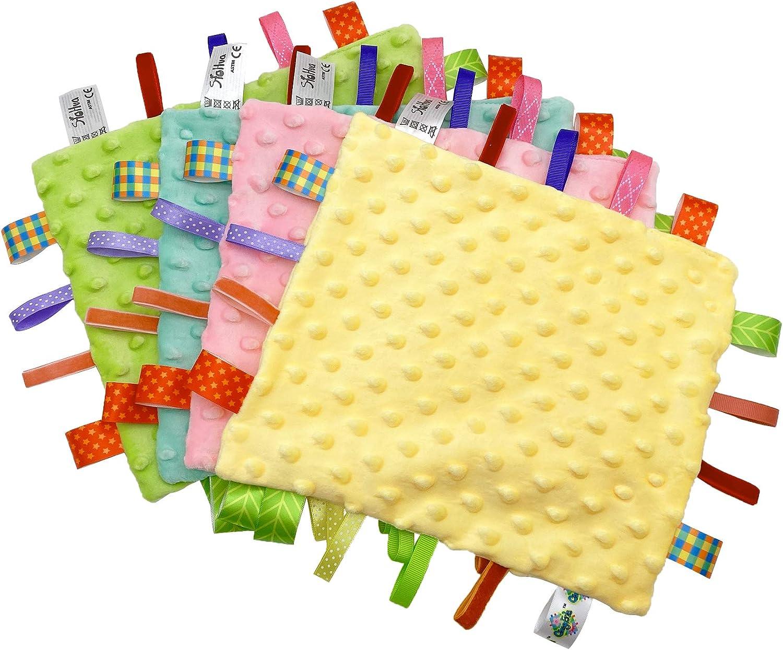 Amarillo Manta con Cintas Juguete para la Dentici/ón del Beb/é Bebe Manta Confort con Etiqueta Doudou Manta de seguridad para Beb/és Mantitas de Arrullo
