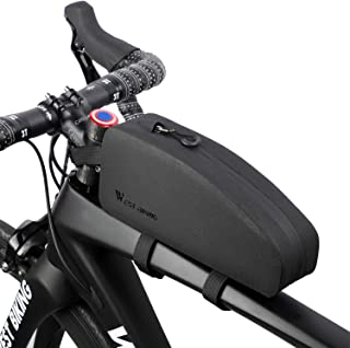 WESTGIRL Bicycle Top Tube Storage Bag, Waterproof Triangle Bike Handlebar Front Frame Pouch Large Capacity Lightweight Pack Road Mountain Cycling Accessories (Black)
