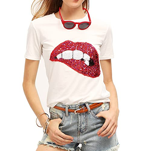 96c7e0641c1b FV RELAY Womens Sequined Glittery Lips Tee Cute Embroidery Tops Funny T  Shirts