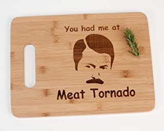 Ron Swanson You Had Me At Meat Tornado Funny Parks and Recreation Engraved Bamboo Wood Cutting Board with Handle Parks and...