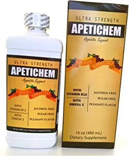 APETICHEM Ultra Strength Appetite Support w/Vitamin B12 and Omega 3 (16 Fl Oz - 480mL) Appetite-Weight Gain. Natural Appetite and Weight Gain Stimulant. Fortified with Vitamins.