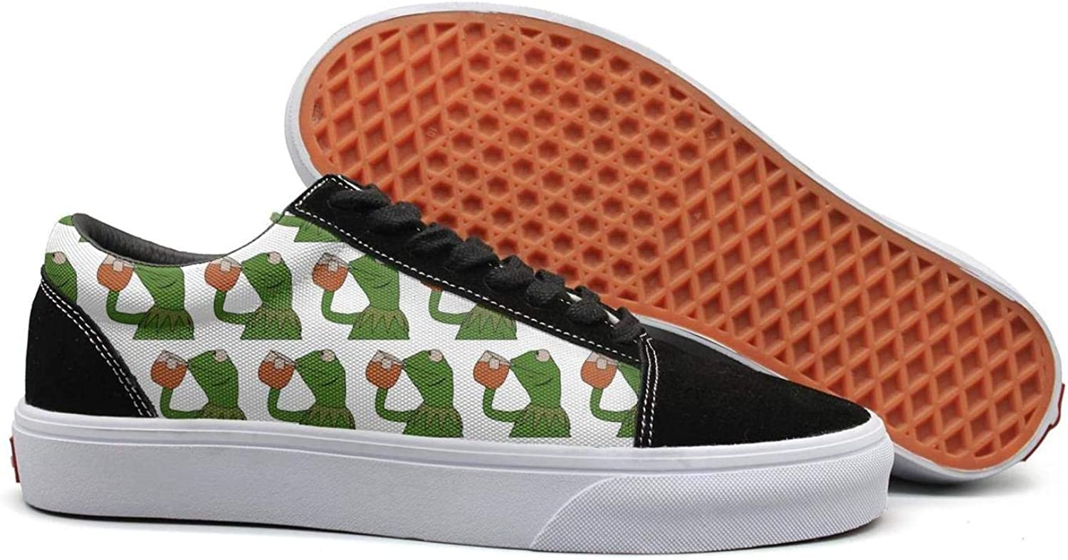 OGFJAL Women Funny Green Frog Sipping Tea Cute Suede Running Sneakers shoes
