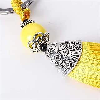 Silver Color Men Women Trendy Key Chain Beads Yellow Ice Silk Tassel Keychain Car Key Ring Pendant Jewelry Friend Gift