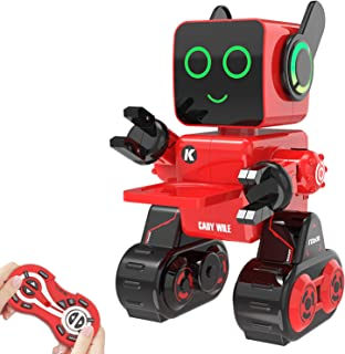 Aukfa Robot Toy for Kids,Programmable Dancing Singing Built-in Piggy Bank,Recording,Rechargeable and LED Eyes Intelligent Interactive Smart Toy RC Control Robot for Kids(Red)