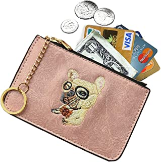 AnnabelZ Women's Coin Purse Change Wallet Pouch Leather Card Holder with Key Chain Tassel Zip