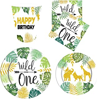 NUOBESTY Wild One Birthday Party Supplies Wild One Party Disposable Tableware Set with Paper Plates Napkins and Cups for 1...