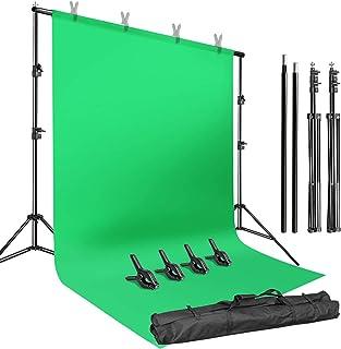 LimoStudio AGG2983 Hintergrundständer mit 1,5 x 3 m, grünem Bildschirm, verstellbarer Chroma Key Hintergrund Stützsatz, Foto Video Fotografie Studio, 3 m