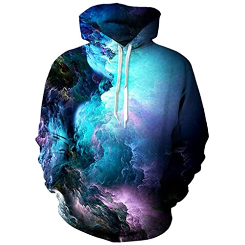 d97b3c981 RAISEVERN Unisex 3D Printed Pullover Long Sleeve Fleece Hooded Sweatshirts  with Pockets