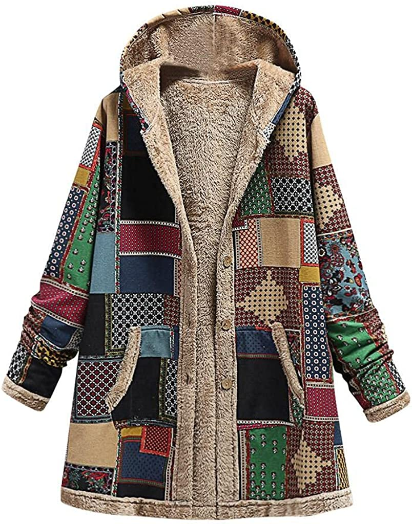 Women's Retro Grid Fleece Lined Outwear Fluffy Long Cotton Coat Plus Size Button Hoody Trench Splicing Jacket Outwear