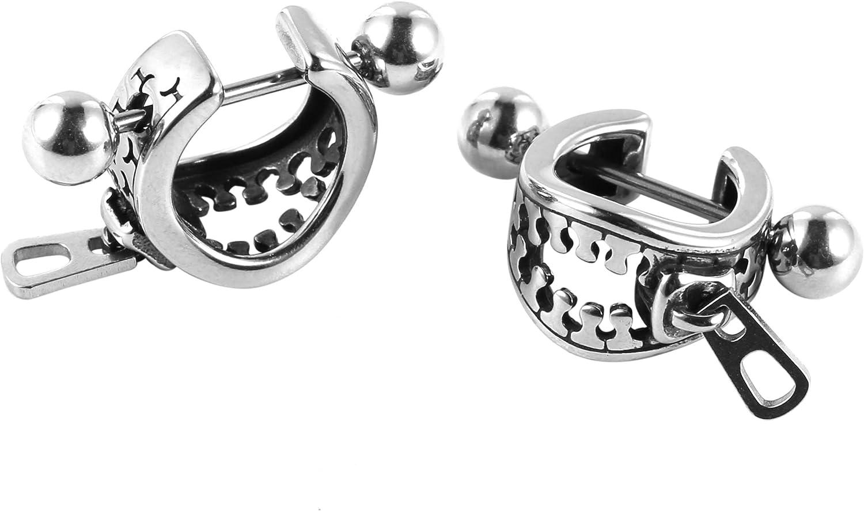 HZMAN Punk Ear Cuff Stainless Steel Barbell Earring Hoop Helix Ear Lobe Stud Earrings Zipper
