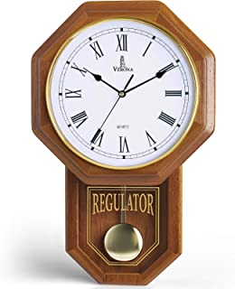 Pendulum Wall Clock – Decorative Wood Wall Clock with Pendulum – Schoolhouse..