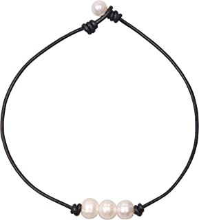 Women White 3 Cultured Freshwater Pearls Choker Necklace on Genuine Leather Cord Knotted Jewelry