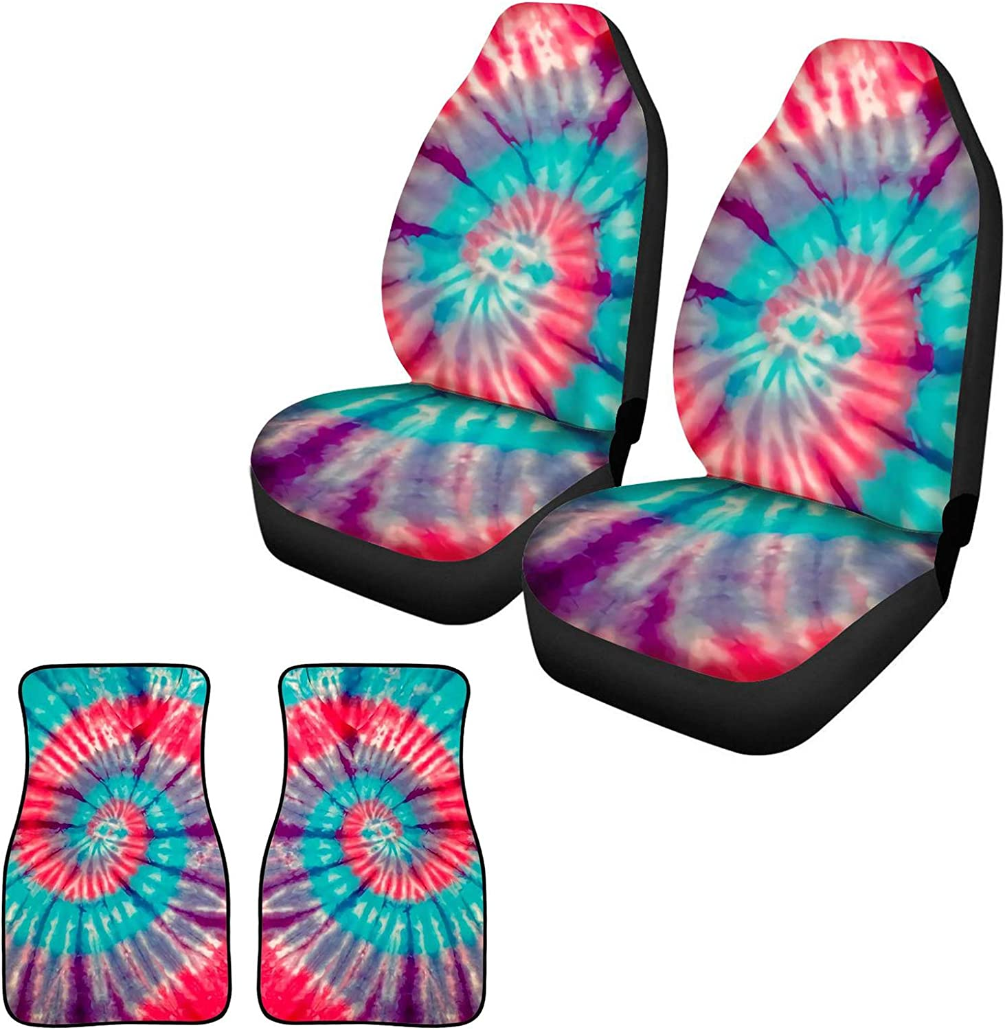 TOADDMOS Personalized Sunflower Butterflies Navy Car Seat Covers and Car Floor Mats Set of 2 Front Floor Carpet Universal Auto Interior Accessories Decor for Women Girls