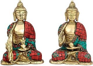 CraftVatika Pair Buddha Brass Statue Tibetan Buddhism Medicine Blessing Sculpture Decor & showpiece Figurine