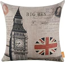 LINKWELL 45x45cm Retro London Union Jack Big Ben Linen Cushion Covers