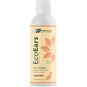 Vet Organics Dog Ear Cleaner. Natural Multi-Symptom Formula. for Itch, Head Shaking, Discharge & Smell. Naturally Cleanses Away Common Problems. 100% Guaranteed | EcoEars