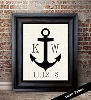 12 Year Anniversary Gift   Linen Anchor Print   12 Years Together   Linen Fabric Print   For Husband