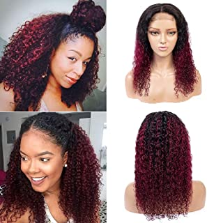 1B/Burgundy Ombre 4x4 Lace Closure Wig, 100% Unprocessed Human Virgin Hair Wigs with Baby Hair, 99J Dark Red Kinky Curly Lace Front Wigs (12