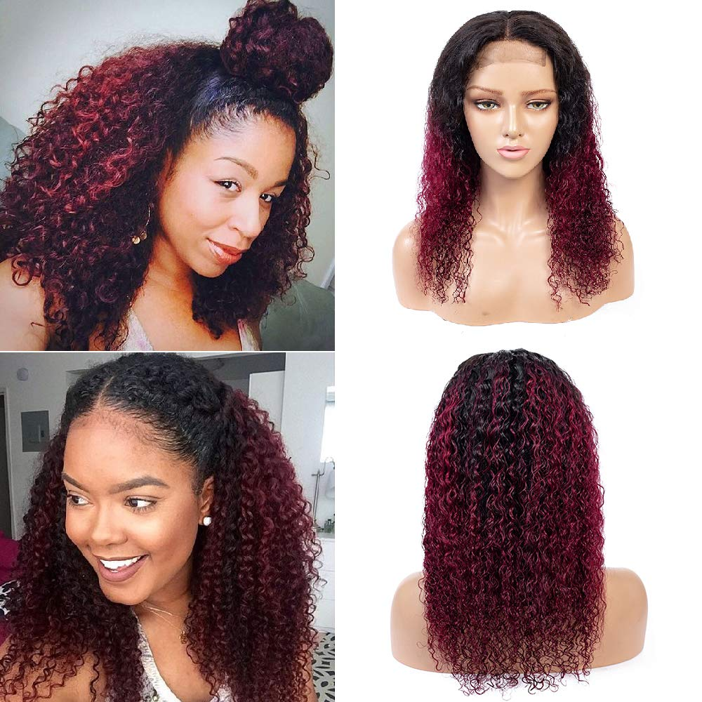 Ombre Burgundy Brazilian Fixed price for sale Detroit Mall Kinky Curly Hair Closure Wig Human Lace