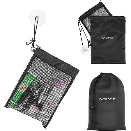 6Pcs Net Bag Hanging Storage Mesh Bag with Hook Hanger Multifunctional Solid Color Peg Bag for Kitchen Bathroom Shower Wardrobe Drying Racks Space Saving