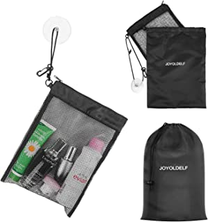 """LEEFE Shower Bag Tote, Mesh Shower Caddy Portable Organizer 12""""L x 9""""W with Suction Cup and Zipper Drawstring Pouch 14""""L x..."""