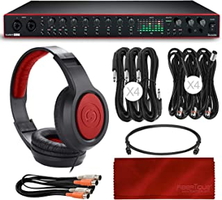 Scarlett 18i20 18-in 20-out USB Audio Interface (3rd Generation) + Samson SR360 Over-Ear Dynamic Stereo Headphones, Cablesand a Fibertique Microfiber Cleaning Cloth