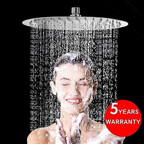 STARBATH Large 12 Inch Round Rainfall Shower Head Ultra Thin 304 Stainless Steel Rain Shower Head Wall Mounted-Chrome Finish