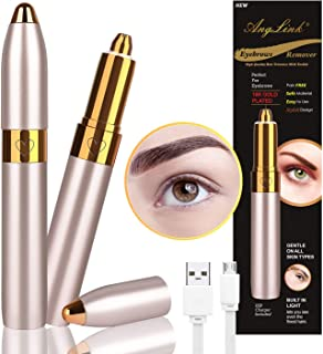 Anglink Eyebrow Hair Remover, 2019 USB Rechargeable Painless Portable Precision Electric Eyebrow trimmer for Women (Gold)