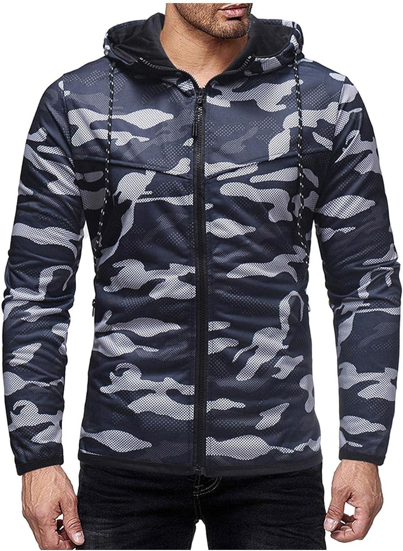 Hoodies for Men Men's Fashion Hoodies & Sweatshirts Casual Slim Long-sleeve Camouflage Zip Up Hoodies Pullover Cardigan