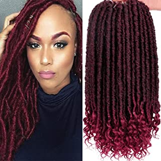 6Packs Goddess Faux Locs Crochet Hair 16 Inch Straight Goddess Locs with Curly Ends Synthetic Crochet Hair Braids for Black Women(1B-BUG#)