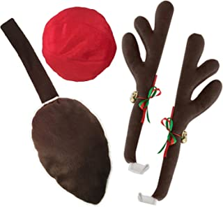 KOVOT Reindeer Car Set: Includes Car Jingle Bell Antlers Antlers, Nose, and Tail For The Trunk