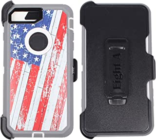 Heavy Duty Impact Rugged with Built-in Screen Protector Camouflage Protective Case Cover with Clip for Apple iPhone 7 (USA-Flag-Camo)