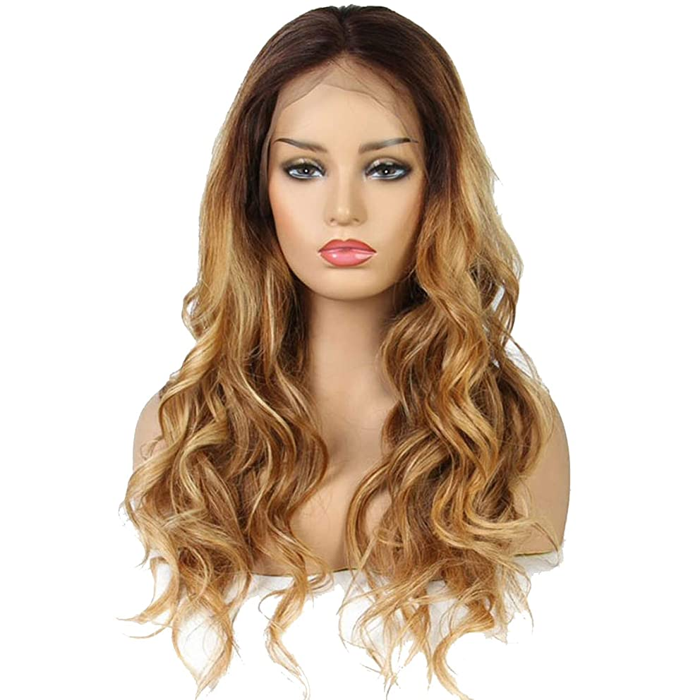 Ombre honey blond wavy Wig 180Density Lace Front Human Hair Wigs Pre Plucked Hair mixed #4/30/27 Wig Remy Hair,20inches,180%