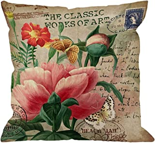 HGOD DESIGNS Throw Pillow Cover Peony with Vintage Butterfly Stamp Retro Style Letter Pink Yellow Green Home Decorative Pillow Cases Cotton Linen Square Cushion Covers For Sofa Couch 18x18 Inch