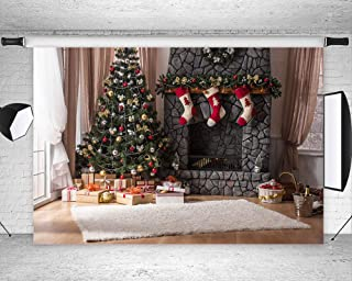 Art Studio Christmas Wooden Background for Photography Xmas Year Backdrop Christmas Tree Gifts Rock Fireplace Photo Festival Decoration Studio Vinyl Props Booth 7x5ft