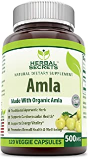 Herbal Secrets Organic Amla 500 Mg 120 Veggie Capsules (Non-GMO) - Supports Cardiovascular Health, Energy Vitality* Promotes Overall Health and Well Being*